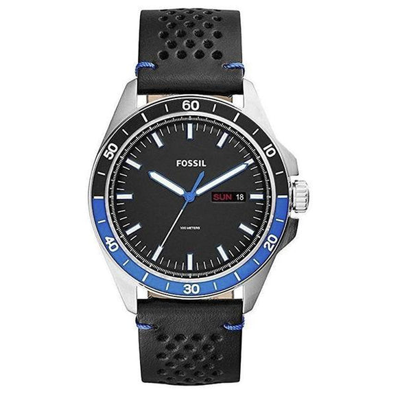Fossil Men's Black Dial Leather Strap Analog Watch - FS5321