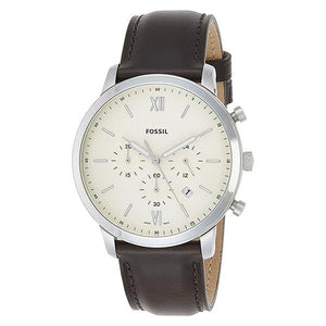 Fossil Men's White Dial Leather Strap Analog Watch - FS5380 1