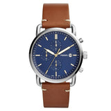 Fossil Men's Blue Dial Leather Strap Analog Watch - FS5401 1