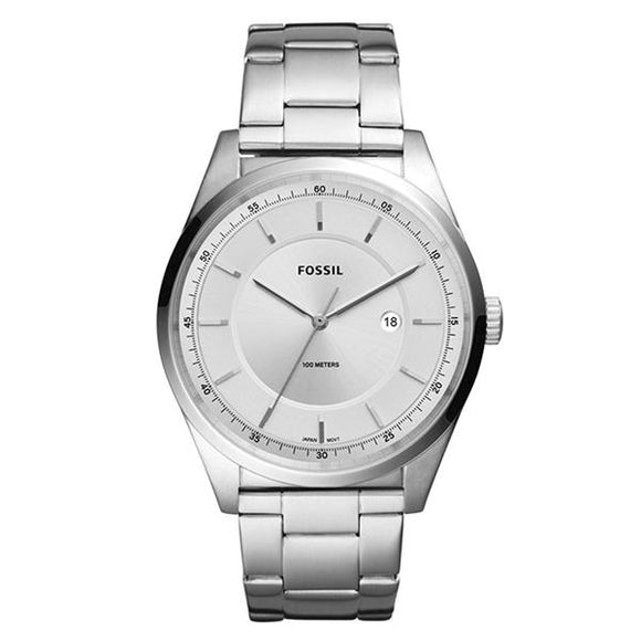 Fossil Men's Silver Dial Stainless Steel Analog Watch - FS5424