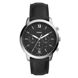 Fossil Men's Black Dial Leather Strap Analog Watch - FS5452 1