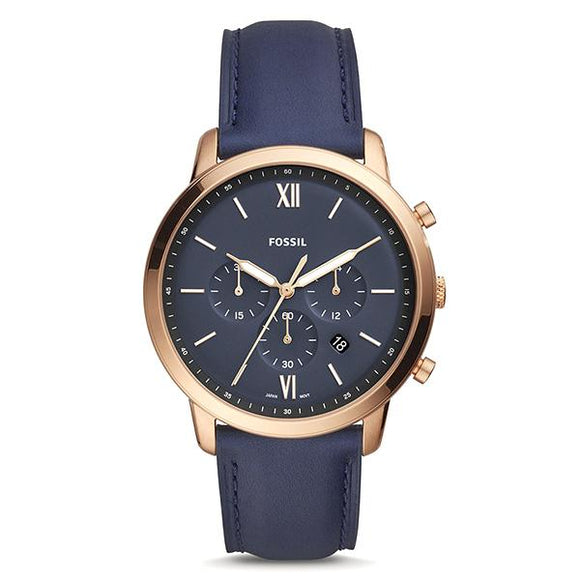 Fossil Men's Blue Dial Leather Strap Analog Watch - FS5454 1