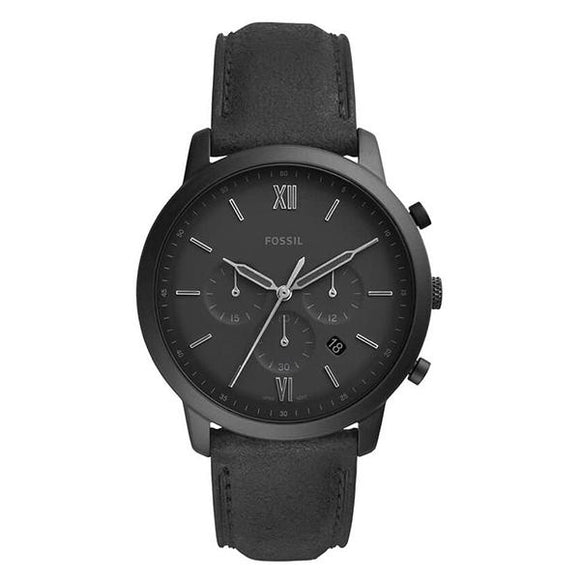 Fossil Men's Black Dial Leather Strap Analog Watch - FS5503