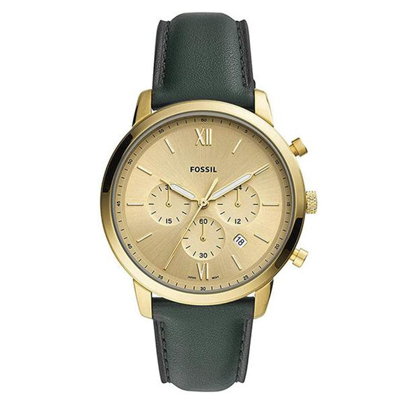 Fossil Men's Gold Dial Leather Strap Analog Watch - FS5580 1