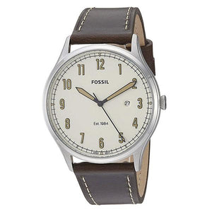 Fossil Men's White Dial Leather Strap Analog Watch - FS5589