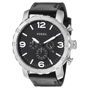 Fossil Men's Black Dial Leather Strap Analog Watch - JR1436 1