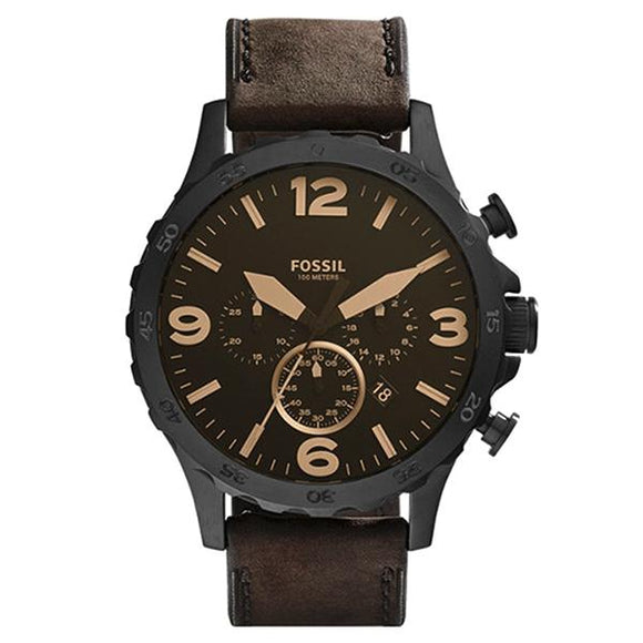 Fossil Men's Brown Dial Leather Strap Analog Watch - JR1487 1