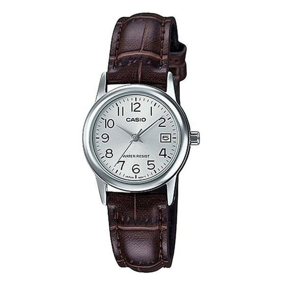Casio Women's Silver Dial Leather Strap Analog Watch - LTP-V002L-7B2
