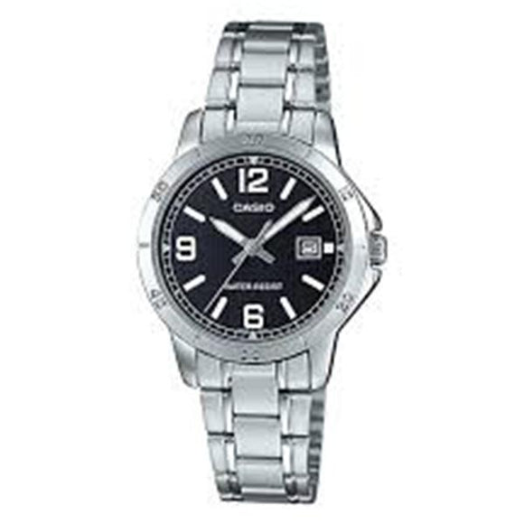 CASIO Women's Black Dial Stainless Steel Band Watch - LTP-V004D-1B2UDF