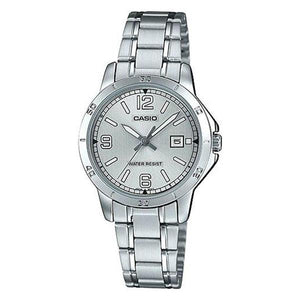CASIO Womens Silver Dial Stainless Steel Band Watch LTP-V004D-7B2UDF