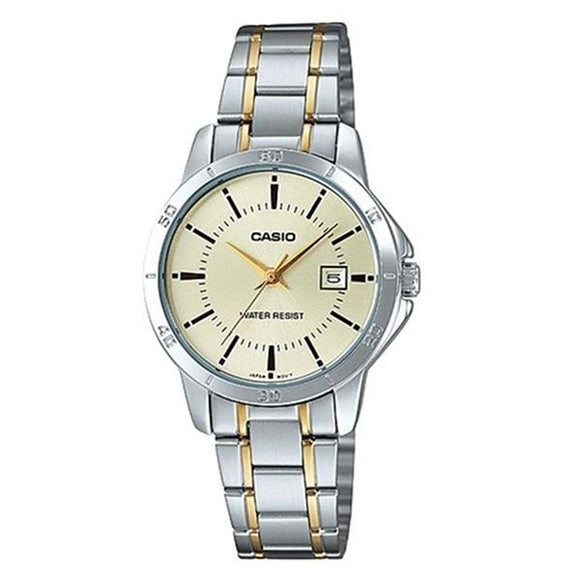 CASIO Women's Beige Dial Stainless Steel Band Watch - LTP-V004SG-9A