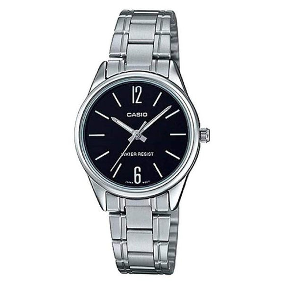 CASIO Women's Black Dial Stainless Steel Band Watch - LTP-V005D-1B