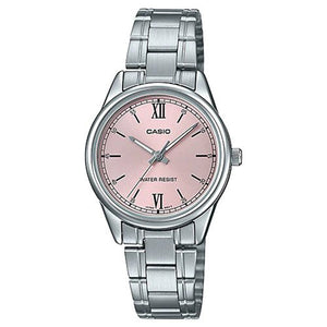 CASIO Women's Pink Dial Stainless Steel Band Watch - LTP-V005D-4B2