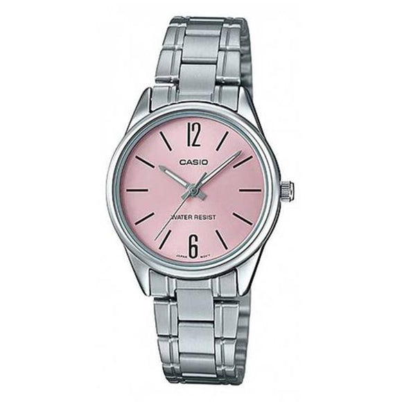Casio Women's Pink Dial Stainless Steel Band Watch - LTP-V005D-4B
