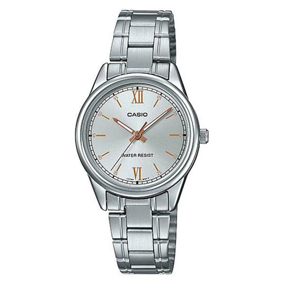 Casio Women's Silver Dial Stainless Steel Band Watch - LTP-V005D-7B2