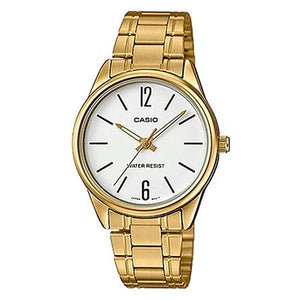 CASIO Women's White Dial Gold Plated Analog Watch - LTP-V005G-7B