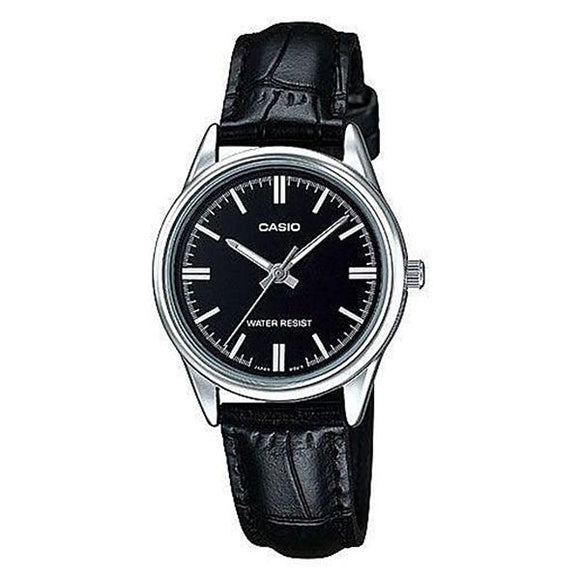 Casio Women's Black Dial Leather Strap Analog Watch - LTP-V005L-1A