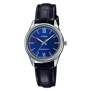 Casio Women's Blue Dial Leather Strap Analog Watch - LTP-V005L-2B