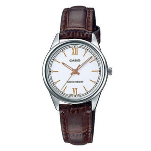 Casio Women's White Dial Leather Strap Analog Watch - LTP-V005L-7B3