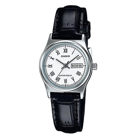 CASIO Women's White Dial Leather Strap Analog Watch - LTP-V006L-7B