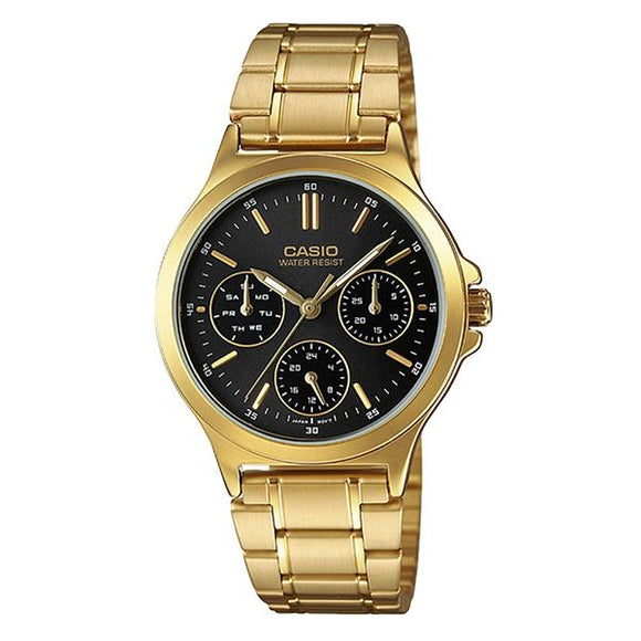 Casio Women's Black Dial Gold Plated Multifunction Watch LTP-V300G-1A