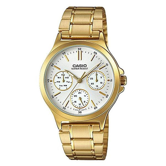 Casio Women's White Dial Gold Plated Multifunction Watch LTP-V300G-7A