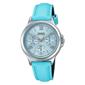 CASIO Women's Blue Dial Leather Strap Analog Watch - LTP-V300L-2A3