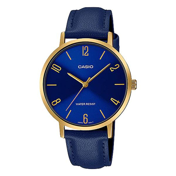 Casio Women's Blue Dial Leather Strap Watch - LTP-VT01GL-2BUDF