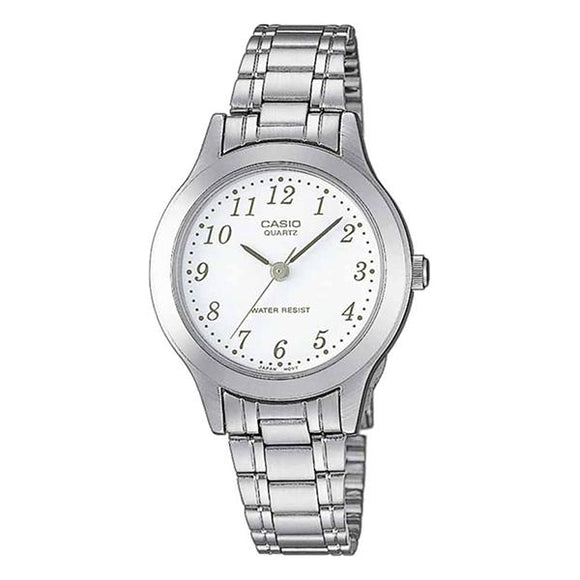 Casio Women's White Dial Stainless Steel Band Watch - LTP1128A-7B