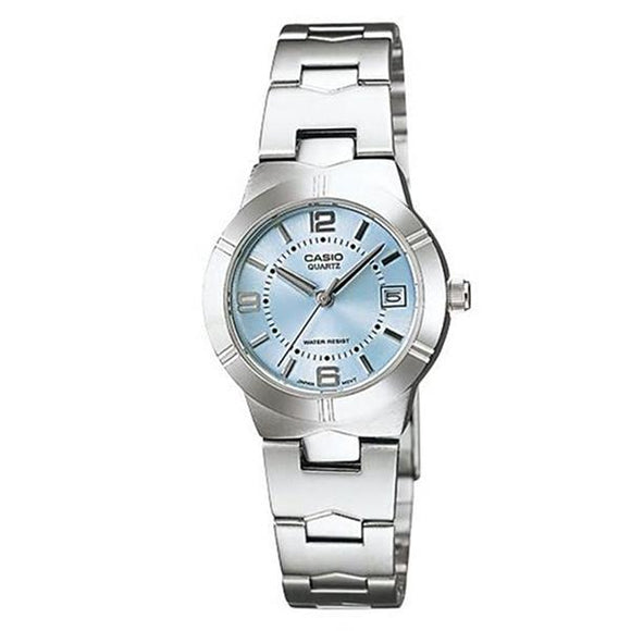 Casio Women's Blue Dial Stainless Steel Band Analog Watch LTP1241D-2A