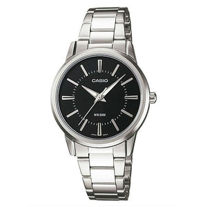 Casio Women's Black Dial Stainless Steel Band Analog Watch LTP1303D-1A