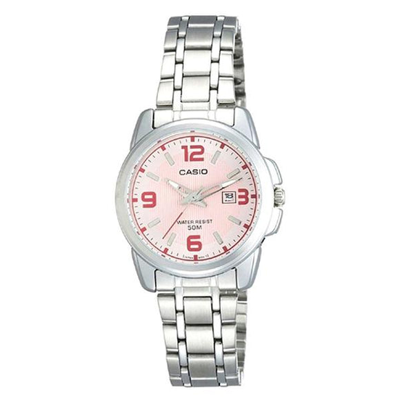 Casio Women's Pink Dial Stainless Steel Band Analog Watch LTP1314D-5A