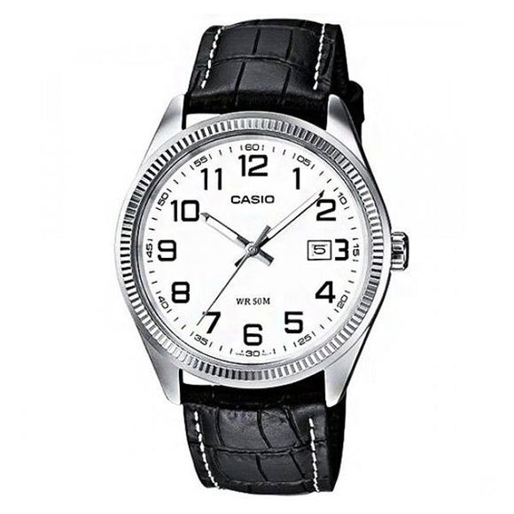 Casio White Dial Leather Strap Analog Watch - MTP-1302L-7B