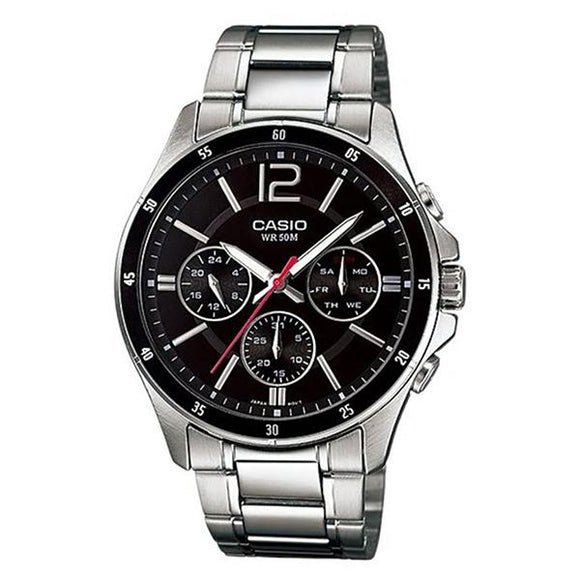 CASIO Men's Black Dial Stainless Steel Band Analog Watch MTP-1374D-1A