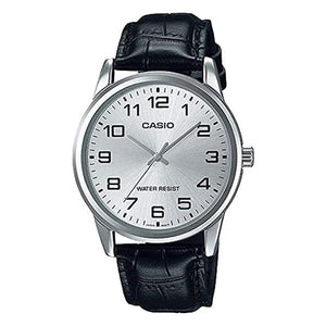 CASIO Men's Silver Dial Leather Strap Analog Watch - MTP-V001L-7B