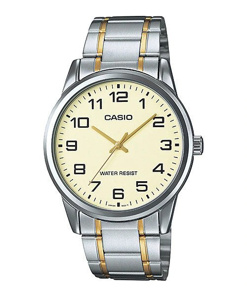 Casio Men's Beige Dial Two-Tone Analog Watch MTP-V001SG-9B 1