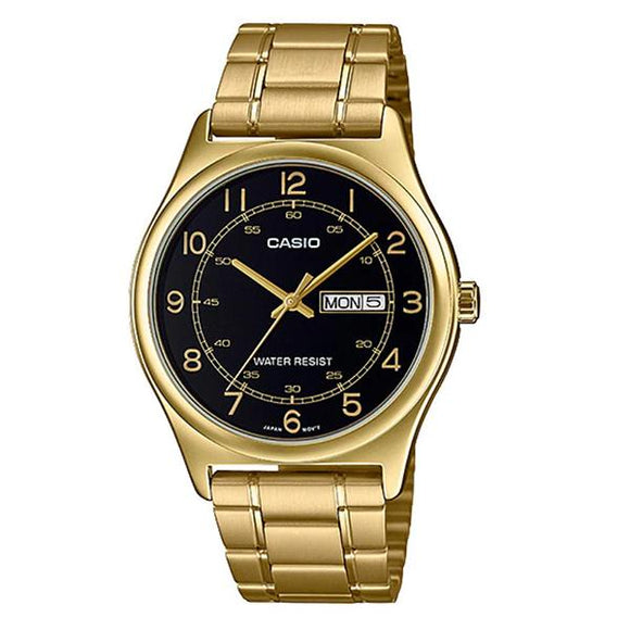 CASIO Men's Black Dial Gold Plated Analog Watch - MTP-V006G-1BUDF