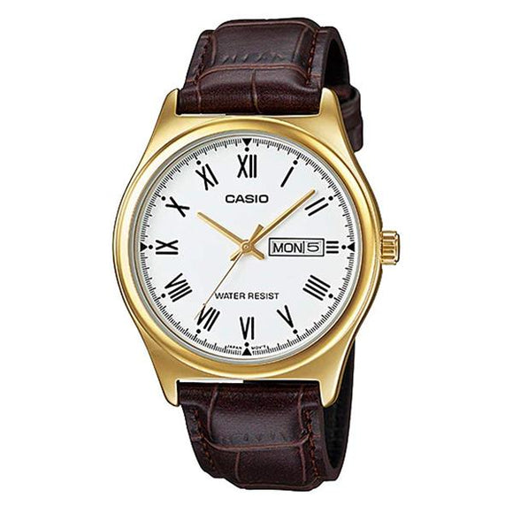 Casio White Dial Leather Strap Analog Watch - MTP-V006GL-7B