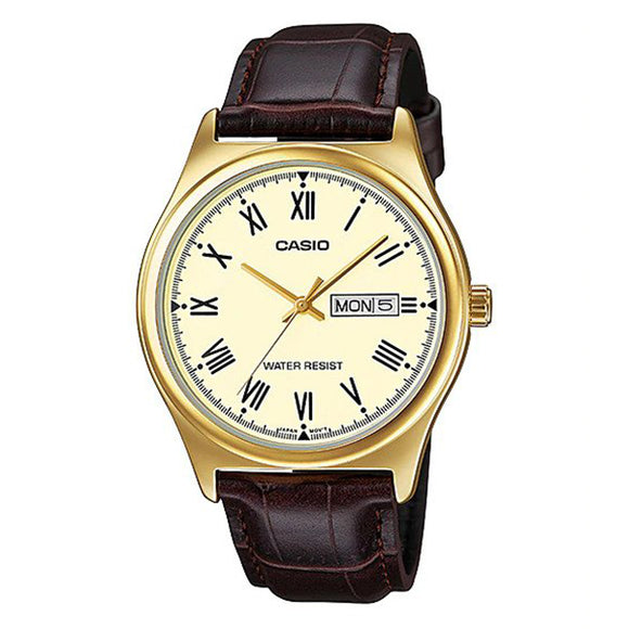 Casio Beige Dial Leather Strap Analog Watch - MTP-V006GL-9B