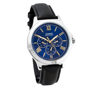 Casio Blue Dial Leather Strap Multifunction Watch - MTP-V300L-2A