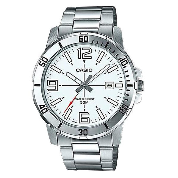 CASIO White Dial Stainless Steel Band Analog Watch - MTP-VD01D-7B