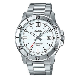 CASIO Men's White Dial Stainless Steel Band Analog Watch MTP-VD01D-7E