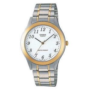 Casio Men's White Dial Stainless Steel Band Analog Watch - MTP1128G-7B