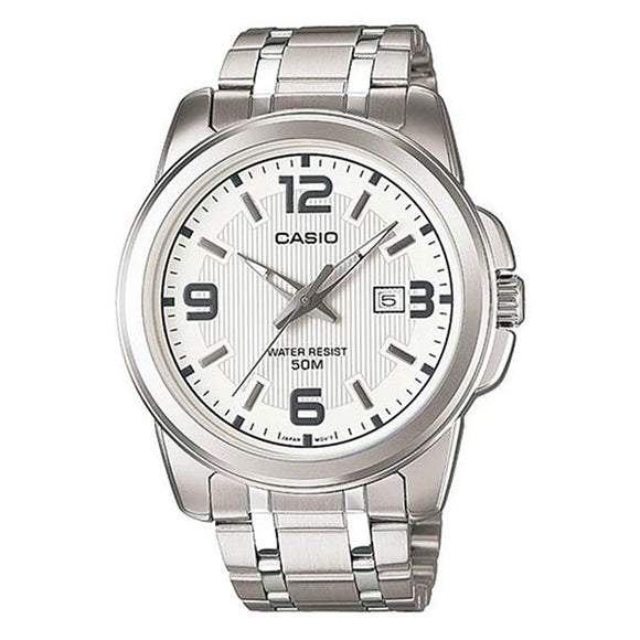 CASIO MTP1314D-7A Mens Stainless Steel Case & Band White Dial Watch 1