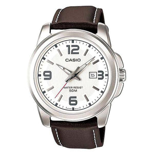 CASIO Men's White Dial Leather Strap Analog Watch - MTP1314L-7A