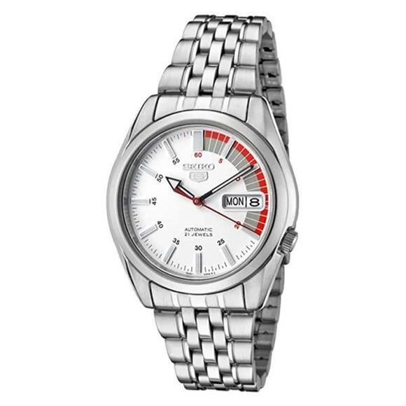 Seiko Men's Red and White Dial Stainless Steel Case & Band Automatic Movement Watch SNK369K1