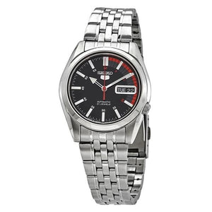 Seiko Men's Red and Black Dial Stainless Steel Case & Band Automatic Movement Watch SNK375J1