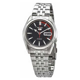 Seiko Men's Red and Black Dial Stainless Steel Case & Band Automatic Movement Watch SNK375K1