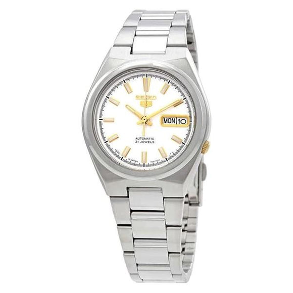 Seiko Men's White Dial Stainless Steel Case & Band Automatic Movement Watch SNKC47J1