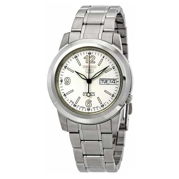 Seiko Men's White Dial Stainless Steel Case & Band Automatic Movement Watch SNKE57K1 1